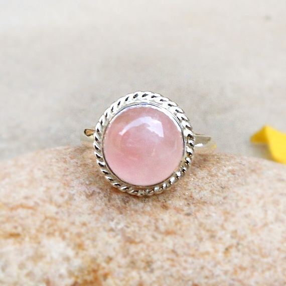 925 Sterling Silver Natural Rose Quartz GemStone Ring Gift Jewelry.All US SIZE
